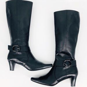 NEW Black Leather Buckle Style Boots Size 8